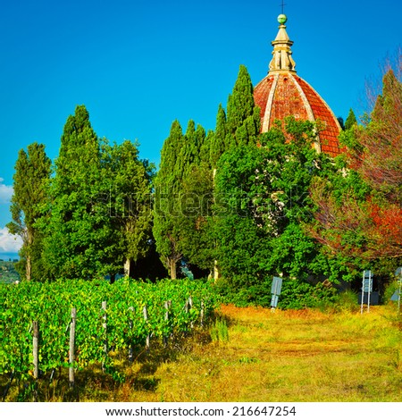 Church and Vineyard in the Chianti Region, Instagram Effect - stock photo