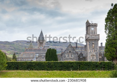 Church at Fort Augustus next to the Caledonian Canal which leads into Loch Ness and connects the North Sea and the Atlantic Ocean - stock photo