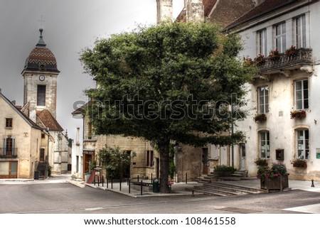 Church at Pesmes, Burgundy - France - stock photo
