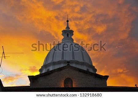 Church At Sunset - stock photo