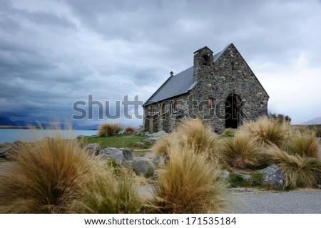 Church at Tekapo lake, New Zealand - stock photo