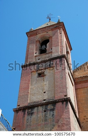 Church bell tower in the centre of town, Torrox, Costa del Sol, Malaga Province, Andalusia, Spain, Western Europe. - stock photo