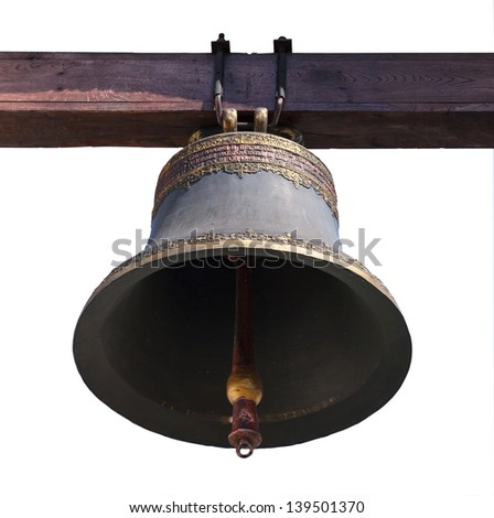 Church bronze bell isolated on white background - stock photo