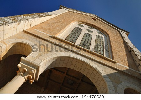 Church building of catholic trappists monastery (also known as monastery of silence because the vow of silence which the monks take) in Latrun area. Central Israel.      - stock photo