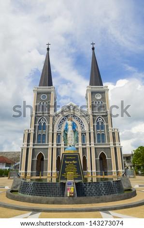 Church Catholic Church in Chantaburi province against the backdrop of a beautiful sky, Thailand - stock photo
