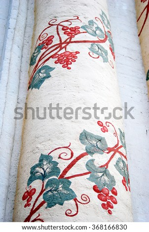 Church column in Trinity Sergius Lavra, Sergiev Posad, Russia. UNESCO World Heritage Site.  - stock photo