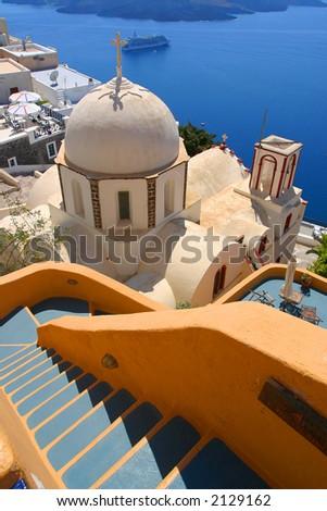 Church cupola from Santorini - stock photo