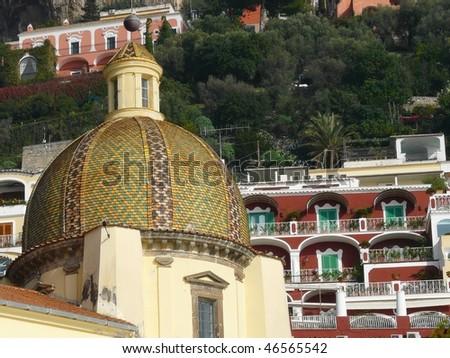 Church dome in Positano on the Amalfi Coast of Italy - stock photo