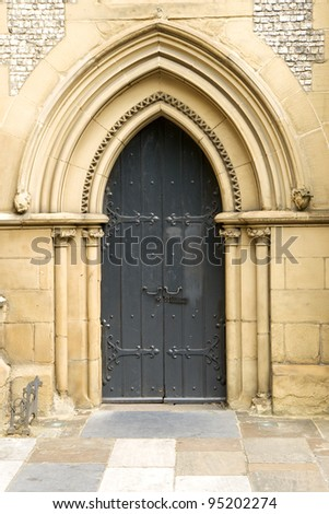 Church door at the Southwark Cathedral at London, England
