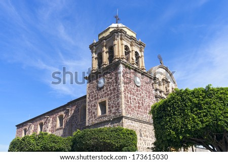 Church exterior with bell tower in Tequila Mexico - stock photo