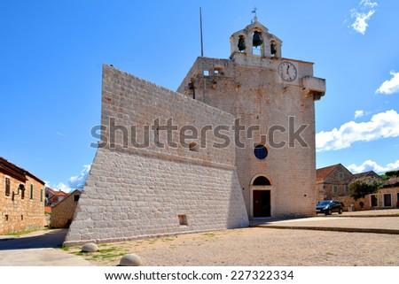 Church fortress st. Mary from  fifteenth century in Vrboska Croatia - stock photo