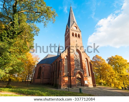 Church from brick stone in northern Germany - stock photo