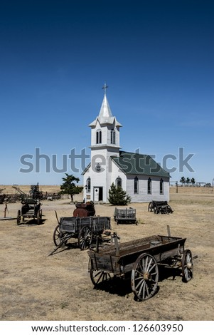 Church, Ghost Town in South Dakota - stock photo