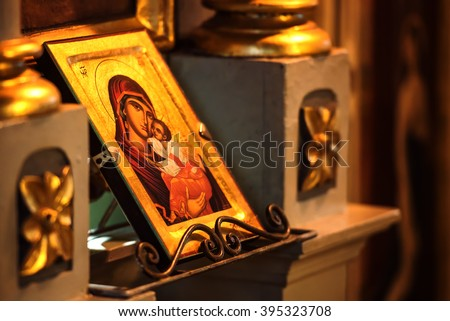 Church icon of Mother of God (Mary) and child (Jesus Christ) symbols christianity - stock photo