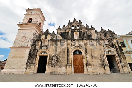 Church Iglesia La Merced, originally built in 1534, burned by Henry Morgan in 1670 and rebuilt in 1781 - stock photo
