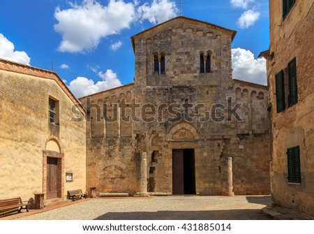 Church in Abbadia Isola. Italy, Tuscany.