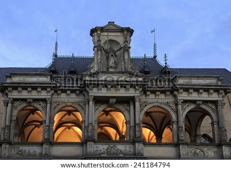 Church in Cologne with illumination at night, Germany  - stock photo