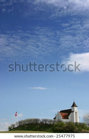 church in denmark in scandinavia. typical christian evangelic Lutheran place of worship - stock photo