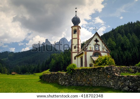 church in dolomites italy
