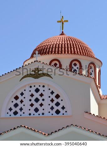 Church in Elounda, Crete - stock photo