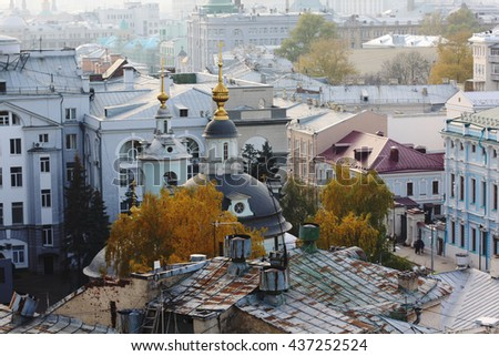 Church in Moscow from a height view