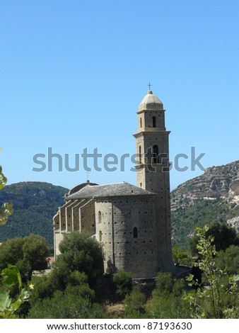 Church in Patrimonio, corsica - stock photo