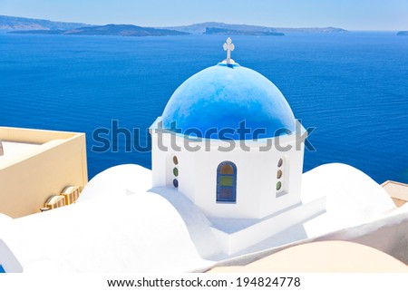 Church in Santorini, Greece - Stock Image - stock photo
