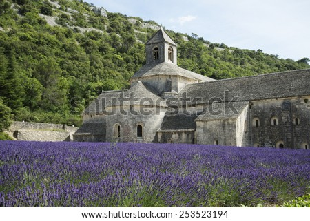 Church in the center of a  Lavender field