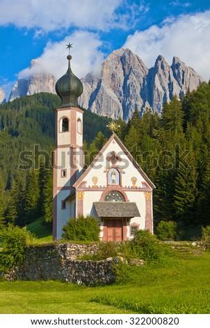 Church in the European Alps - stock photo