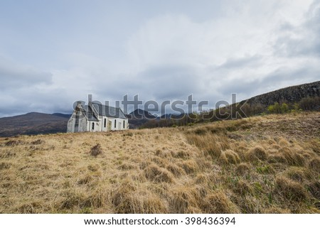 Church in the hills of the Highlands of Scotland in near the village of Lochailort. - stock photo