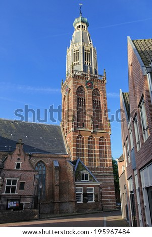 Church in the historical center of Enkhuizen city, The Netherlands - stock photo
