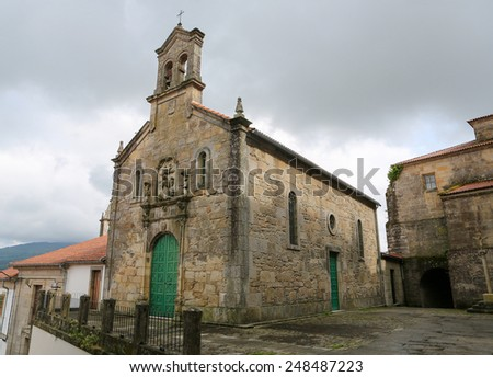 Church in the historical quarter of Tui, a border town with Portugal in the region of Galicia, Spain.
