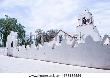 Church in the village of San Pedro de Atacama, Chile - stock photo