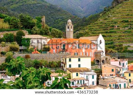 Church in Vernazza (Vulnetia), a small town in province of La Spezia, Liguria, Italy. It's one of the lands of Cinque Terre, UNESCO World Heritage Site - stock photo