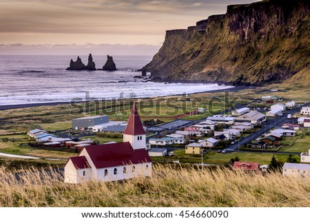 Church in Vik - Little Town in Southern Iceland - stock photo
