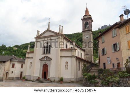 Church in village Valtorta in the mountains in Lombardy, Italy