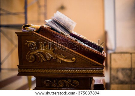 Church, inside the church, altar, vow, religion, cathedral, faith, christianity, catholicism, protestants, orthodoxy - stock photo