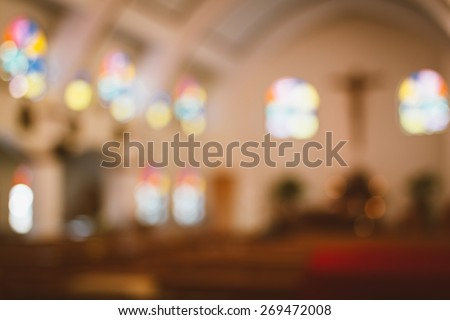 church interior blur abstract - stock photo