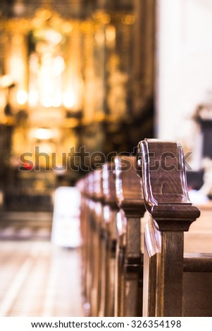 Church interior. Christian religion architecture. Religious catholic old cathedral inside. Christianity faith building indoor.  - stock photo