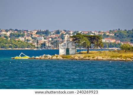 Church island neat town of Pakostane, Dalmatia, Croatia