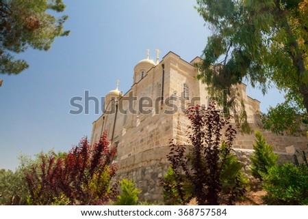 Church - monastery of St. John the Baptist in Jerusalem, Israel.  - stock photo