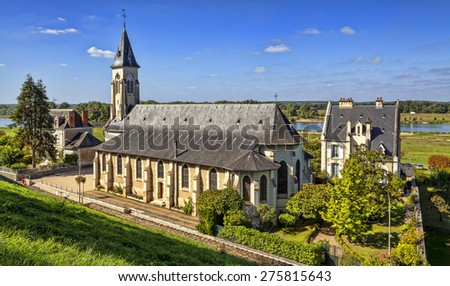 Church near the castle of Chaumont-sur-Loire in the Loire Valley, France.