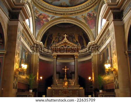 Church Notre Dame de Lorette interior. Notre dame de Lorette is a  neoclassical church in the 9th arrondissement of Paris. Construction of the church began in 1823 and was completed in 1836. - stock photo