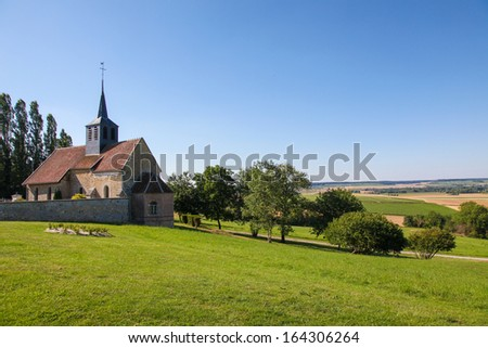 Church of a small village in the Champagne region in France, near Reims. - stock photo