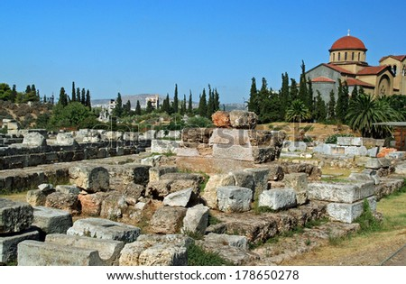 Church of Agia Triada (Holy Trinity) and remains of ancient cemetery in the Kerameikos Quarter of Athens, Greece - stock photo