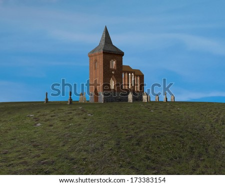 Church of Berkenthin - a 3D-Rendering - stock photo