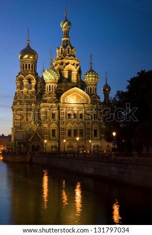 Church of Christ the Savior on Spilled Blood, St. Petersburg, Russia  Iglesia de Cristo el Salvador sobre la sangre derramada, San Petersburgo, Rusia - stock photo