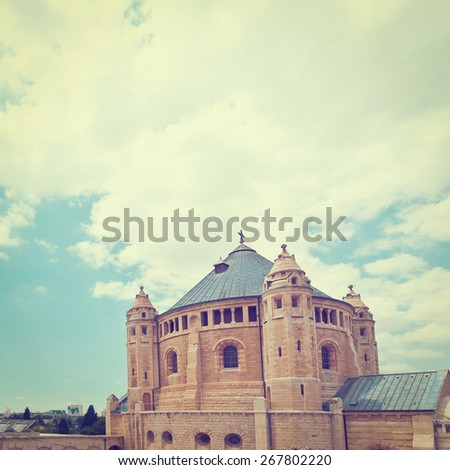 Church of Dormition  on Mount Zion in Jerusalem, Instagram Effect - stock photo