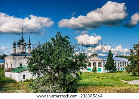 Church of Entry into Jerusalem, or Log-Jerusalem church - church in center of Suzdal, located between shopping arcade and fortifications of Kremlin. Russia. - stock photo