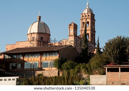 Church of Guadalupe, Tapalpa (Mexico) - stock photo